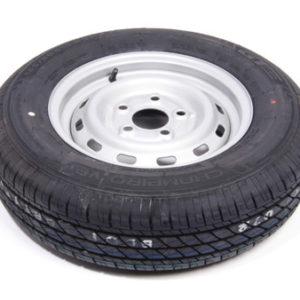 """Komplet 13"""" trailerhjul med et dæk med en bære evne på max 600kg på en 5 huls fælg"""